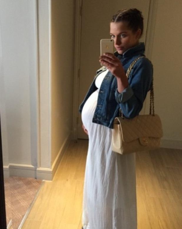 Pregnant Helen Flanagan shows off baby bump in maxi dress - 25 April 2015.