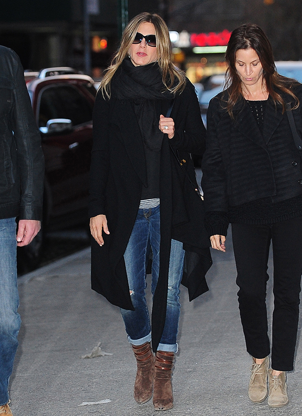 Jennifer Aniston is seen walking in Soho with friends on April 27, 2015 in New York City.