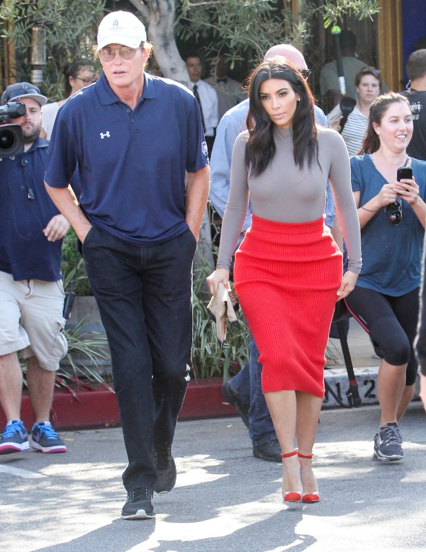 Bruce Jenner and Kim Kardashian are seen on October 20, 2014 in Los Angeles, California. (Photo by Bauer-Griffin/GC Images)
