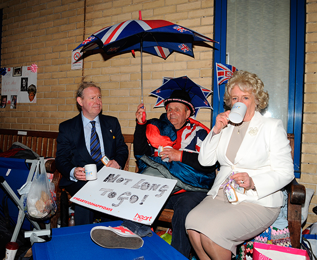 Charles and Camilla lookalikes visit St Marys Hospital in the build up to the forthcoming royal birth, 29 April 2015