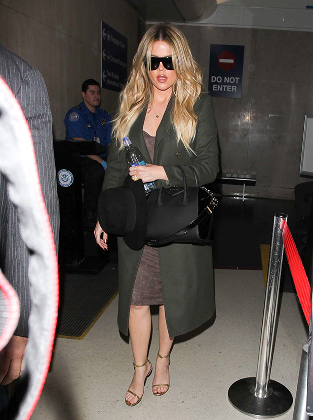 Khloe Kardashian is seen at LAX on April 27, 2015 in Los Angeles, California.