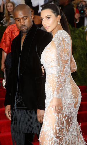 Kim Kardashian and Kanye West at the Met Gala in New York - 4 May 2015.