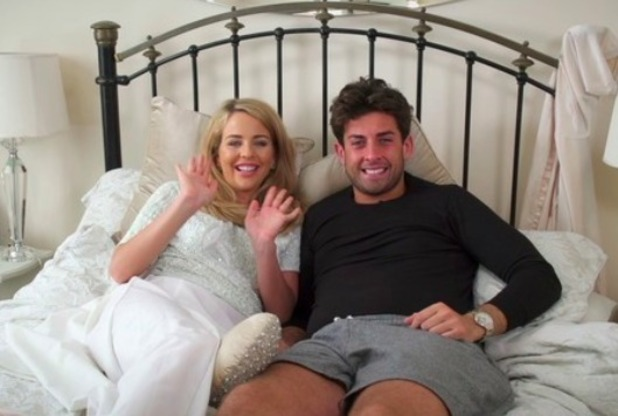 Lydia Bright and James 'Arg' Argent look cosy during interview for TOWIE online, 8 May 2015.