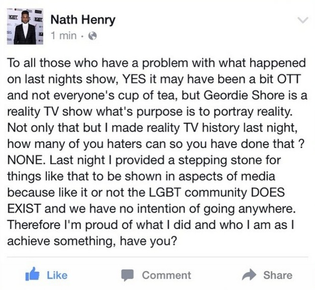 Nathan Henry's Facebook post as a response to trolls 6 May