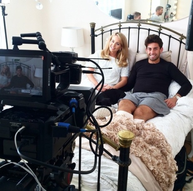 Lydia Bright and James 'Arg' Argent look cosy during interview for TOWIE online. 5 May 2015.