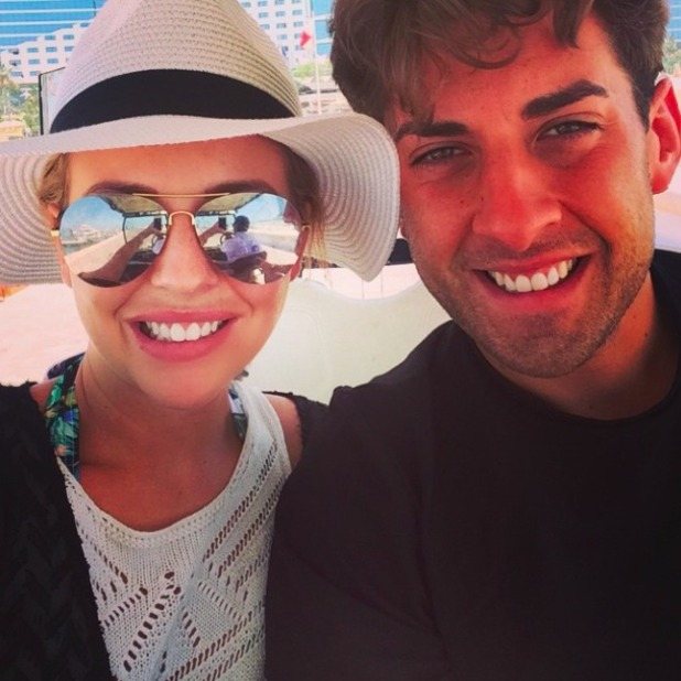 Lydia Bright and James 'Arg' Argent loved up after Dubai holiday, 2 May 2015