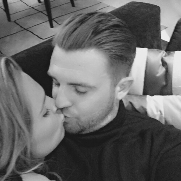 Danielle Lloyd puckers up for a kiss with new boyfriend Tom Jimson, 3 May 2015