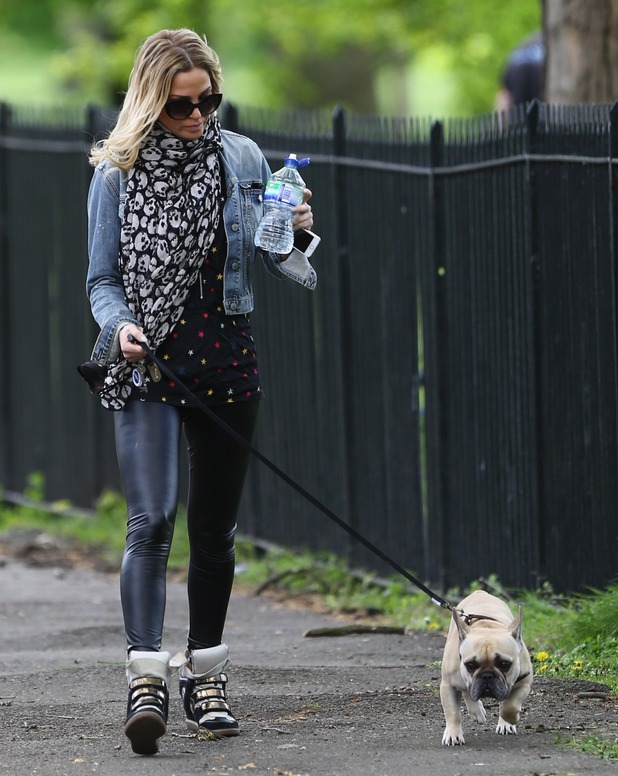 Sarah Harding seen out in Primrose Hill walking her dog on a sunny day, 7th April 2015