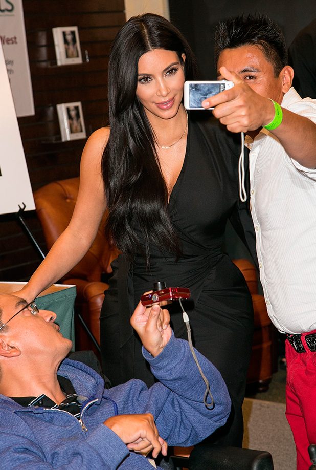 """Kim Kardashian West attends book signing for event """"Selfish"""", featuring the selfie photography of Kim Kardashian West, at Barnes & Noble at The Grove. 7 May 2015"""