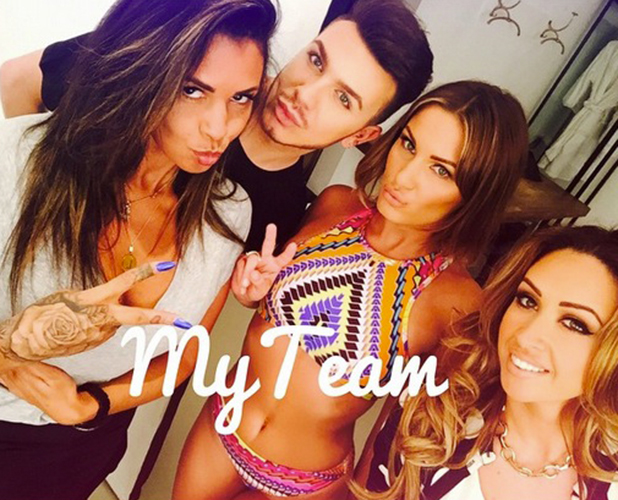 Sam Faiers poses in bikini with her glam squad, 7 May 2015