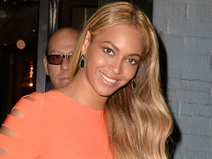 Beyonce wears acid brights as she leaved the recording studio in New York 15th May 2015