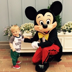 Giovanna Fletcher shares a photo of Buzz meeting Mickey Mouse at Disney World, 12th May 2015
