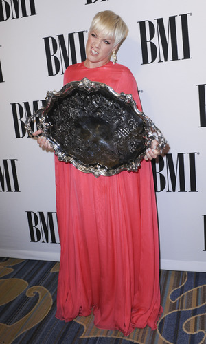 Pink poses with her award at the 63rd Annual BMI Pop Awards - 12 May 2015.