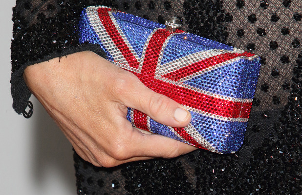 Paris Hilton's Union Jack clutch bag at the Fragrance Awards 15th May 2015
