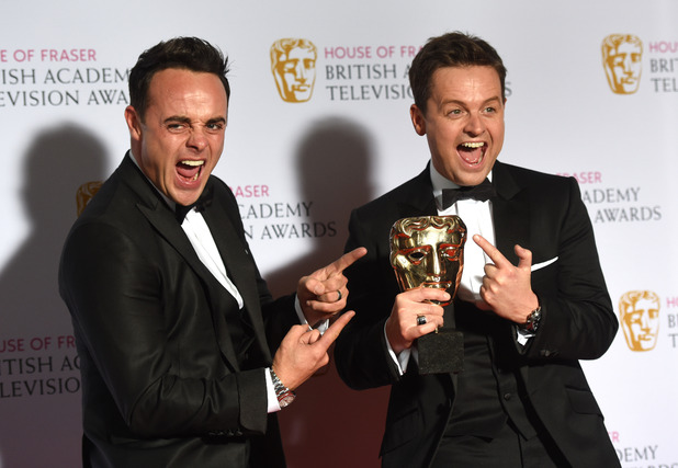 Ant and Dec with their two gongs after winning at the TV BAFTAs - 10 May 2015.