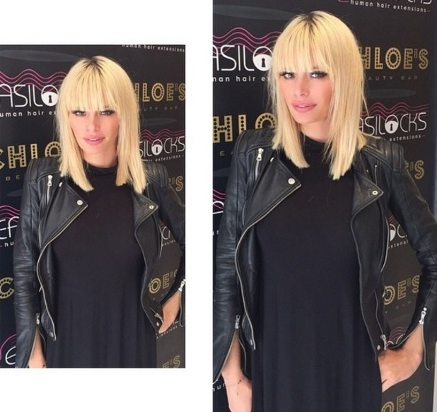 TOWIE's Chloe Sims shows off new bold hairdo with fringe - 12 May 2015.
