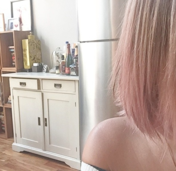Caroline Flack dyes hair pink and posts picture to Instagram using BLEACH LONDON hair dye 13th May 2015
