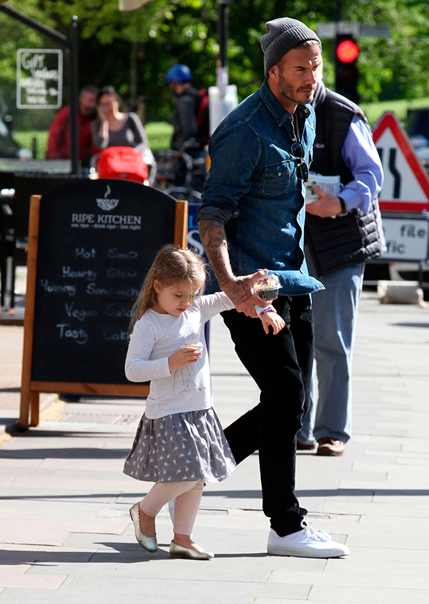 David Beckham out and about in Primrose Hill, London, Britain - 12 May 2015 David and Harper Beckham