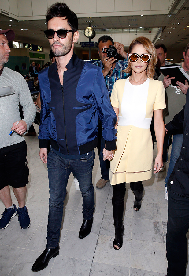 Cheryl Fernandez-Versini and husband Jean-Bernard Fernandez-Versini arrive at Nice Airport for The 68th Annual Cannes Film Festival on May 14, 2015 in Nice, France. (Photo by Alex B. Huckle/GC Images)