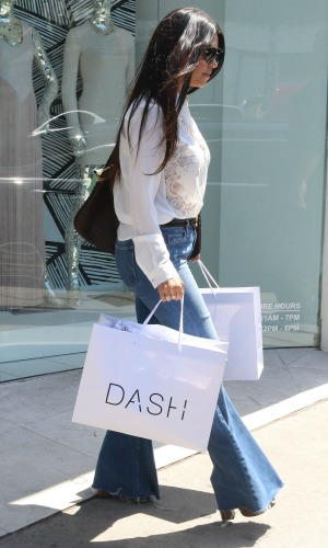 Kourtney Kardashian filming for her reality TV show at Dash store in West Hollywood