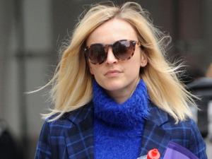 Fearne Cotton in tartan blue coat, 20th May 2015