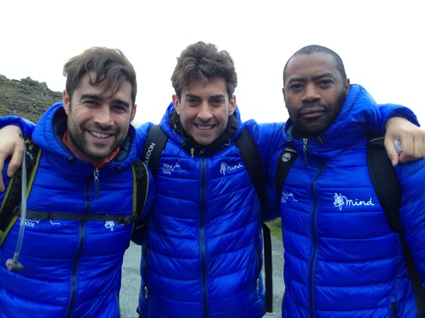 James Arg Argent, Matt Johnson and Nicholas Pinnock climb Snowdonia, Wales for Mind 3000s trek 16 May