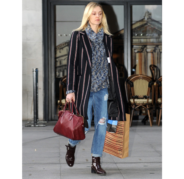 Fearne Cotton heading to Radio1 in striped blazer, 20th May 2015
