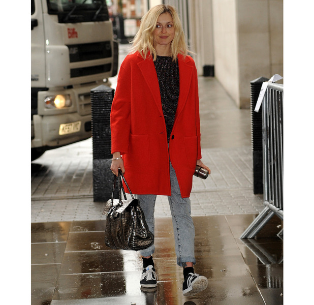 Fearne Cotton heading to Radio1 in red coat, 20th May 2015