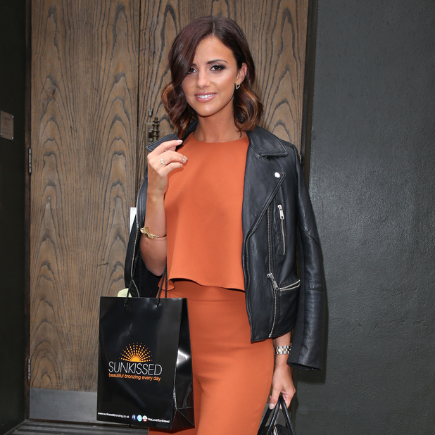 MAY 20: Lucy Mecklenburgh seen leaving the Century Club on May 20, 2015 in London, England, attending the Sunkissed bronzing launch