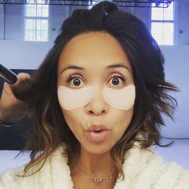 Myleene Klass poses behind-the-scenes of Littlewoods photo shoot with Bliss eye mask on, 22 May 2015