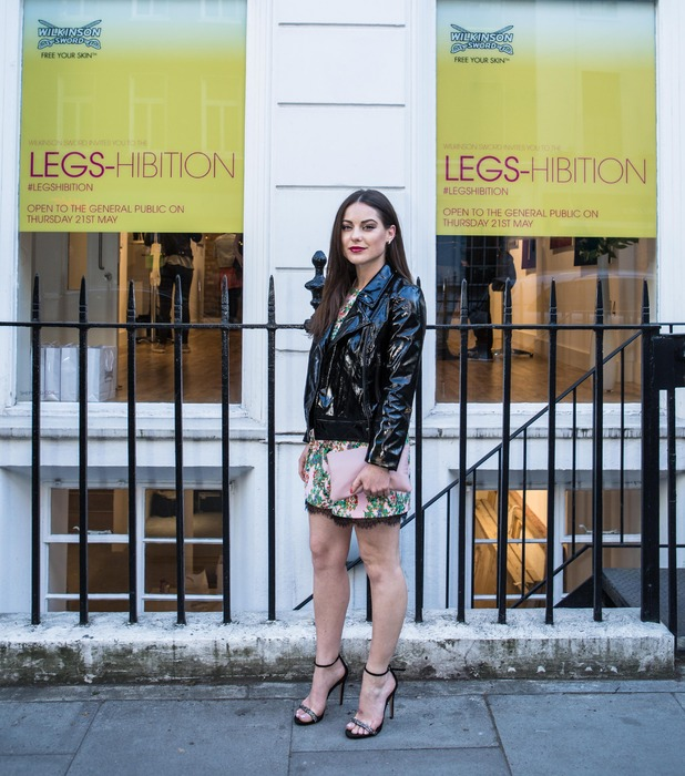 Made in Chelsea's Louise Thompson at the Wilkinson Sword legshibition pop-up event in London 22nd May 2015