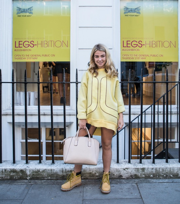 Made in Chelsea's Jess Woodley at the Wilkinson Sword legshibition pop-up event in London 22nd May 2015