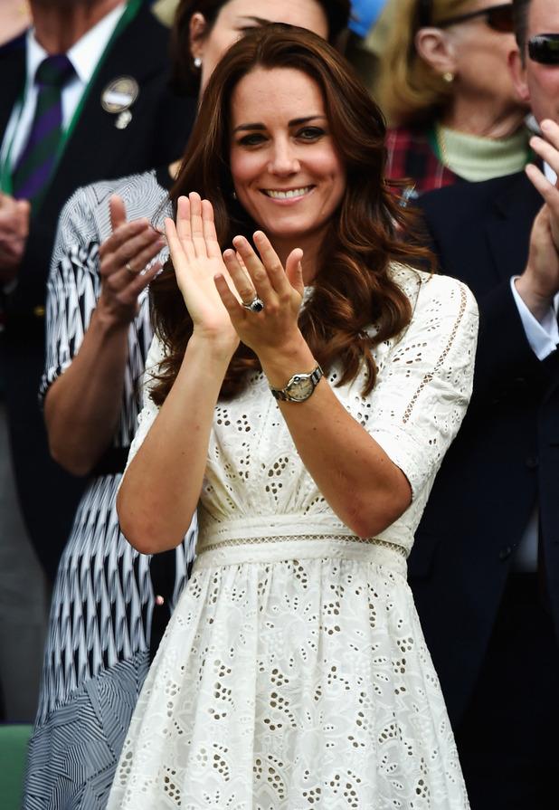 Kate Middleton wearing white lace dress at Wimbledon 2014, 22nd May 2015