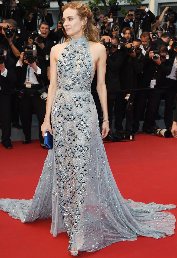 Diane Kruger blue embellished in Cannes 68th Annual Film Festival 18th May 2015