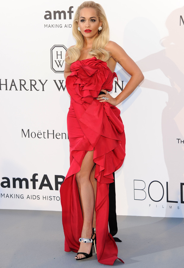 Rita Ora In red dress at Cannes 22nd May 2015