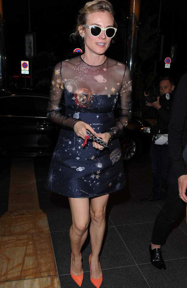 Diane Kruger Space Print Dress in Cannes 68th Annual Film Festival 18th May 2015