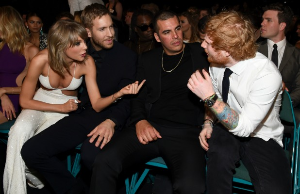 Taylor Swift and Calvin Harris, guest and recording artist Ed Sheeran attend the 2015 Billboard Music Awards at MGM Grand Garden Arena on May 17, 2015 in Las Vegas, Nevada. (Photo by Larry Busacca/BMA2015/Getty Images for dcp)
