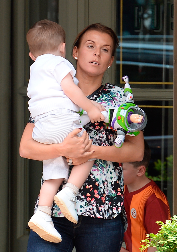 Coleen Rooney leaving Gusto restaurant with her sons Kai and Klay, who celebrates his second birthday.