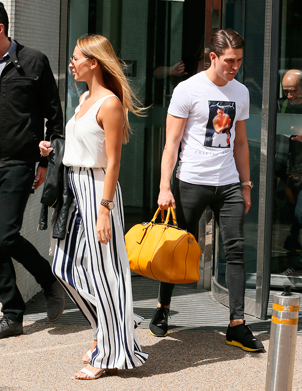 Joey Essex and Bethany Hitch outside ITV Studios, 19 May 2015
