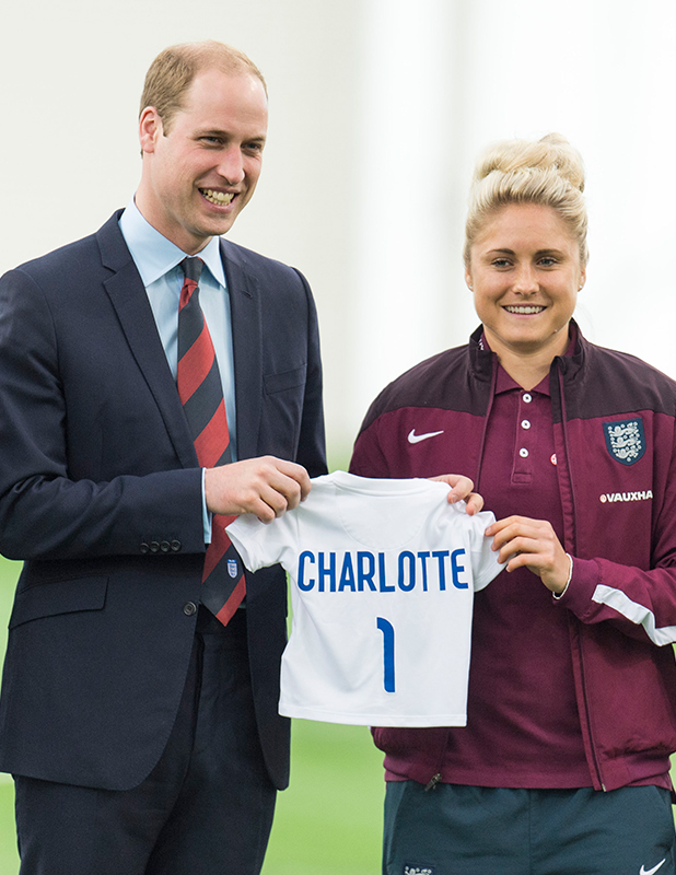 Prince William, Duke of Cambridge during a visit to meet the England Women Football Team ahead of FIFA Women's World Cup 2015 at St Georges Park on May 20, 2015 in Burton-upon-Trent, England.