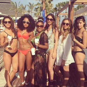 Leigh-Anne Pinnock and Jade Thirlwall with friends in Marbella, Instagram 24 May