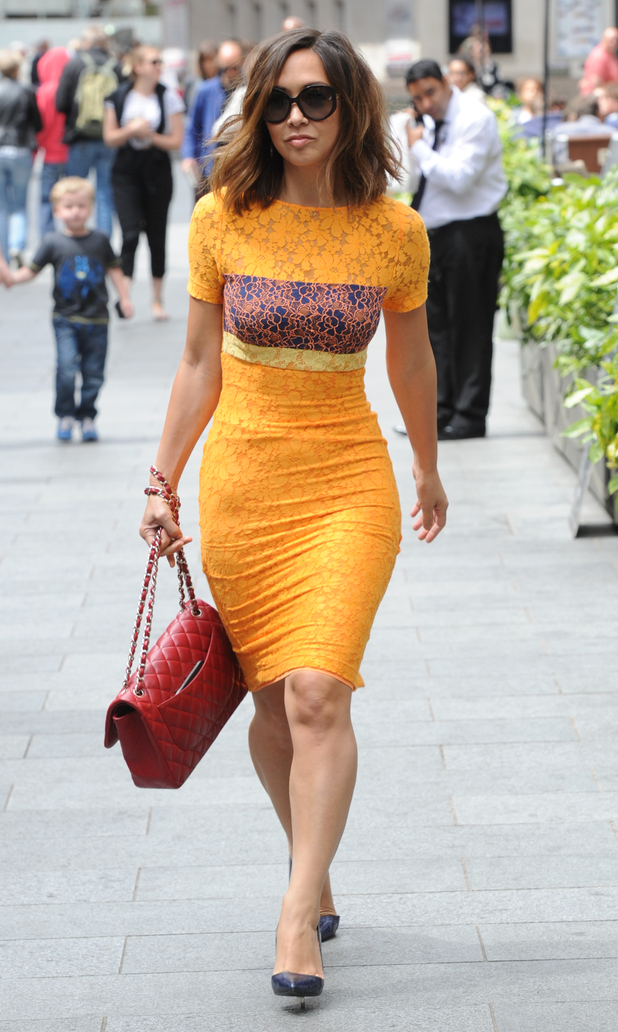 Myleene Klass seen out in London wearing bright yellow dress, 28th May 2015