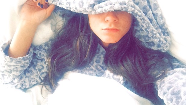 Brooke Vincent blog picture - 27 May: in bed the night after Michelle and Mark's wedding.