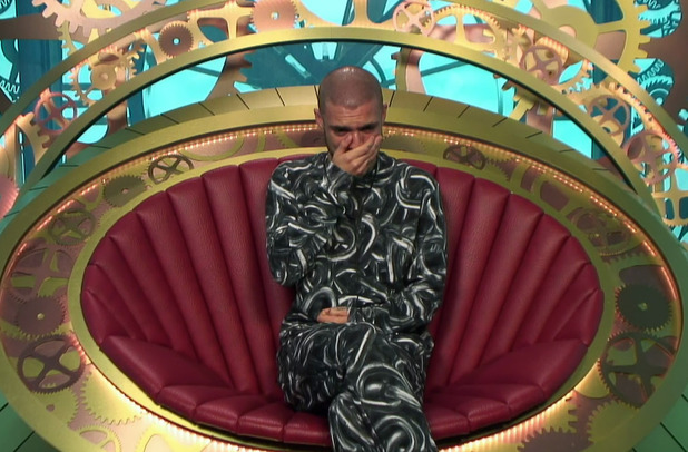 Aaron Frew is removed from the house on Big Brother - 28 May 2015.
