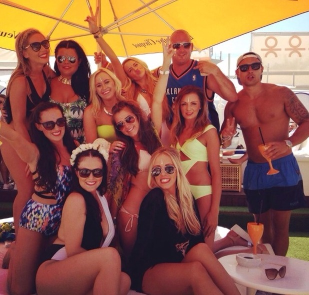 Brooke Vincent blog picture - 27 May: posing with friends while wearing bikinis/swimsuits.