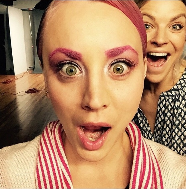 Big Bang Theory star Kaley Cuoco undergoes a makeover, dying her hair and eyebrows pink, 25th May 2015