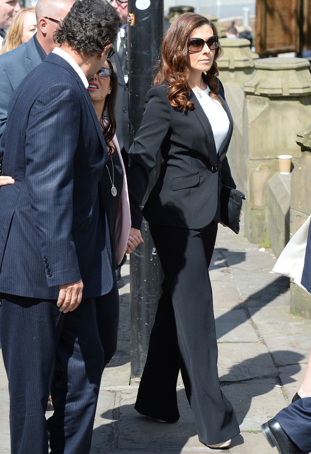 Kym Marsh attends the memorial to co-star Anne Kirkbride, 30 May 2015
