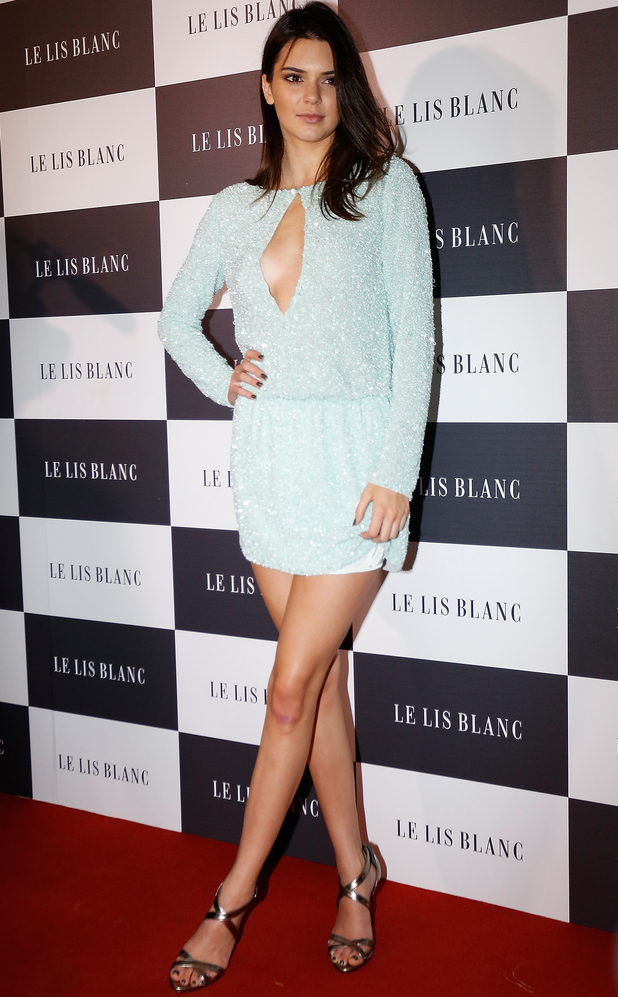 Kendall Jenner wearing blue playsuit in Sao Paolo, Brazil 29th May 2015