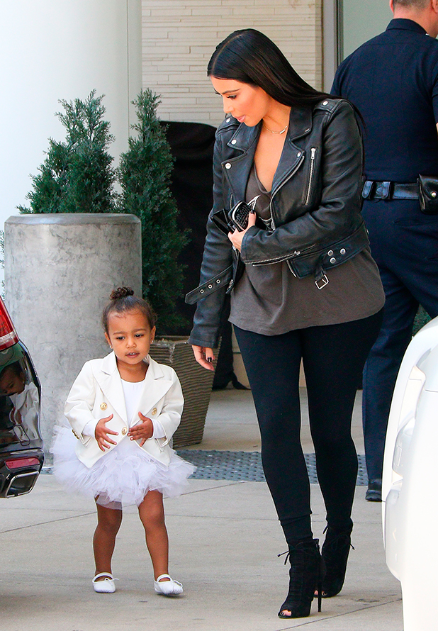 Kim Kardashian and North West are seen in Los Angeles on May 28, 2015 in Los Angeles, California.