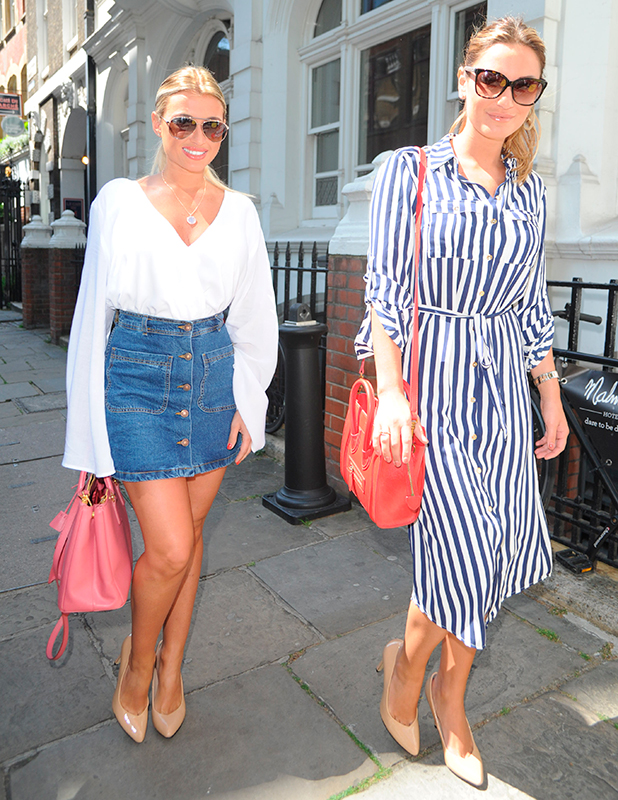 Billie Faiers and Sam Faiers arrive at Malmaison for the launch of their Carlton London shoe range, 26 May 2015